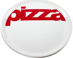 Pizzabord met tekst pizza in rood wit