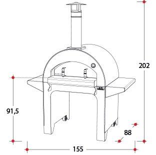 Afmetingen houtoven 4 Pizze