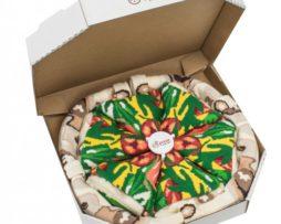 """pizza sokken - 4 paar """"Italiana"""" in pizzadoos"""
