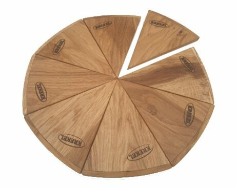 pizzaplank met 8 pizzabordjes van eikenhout